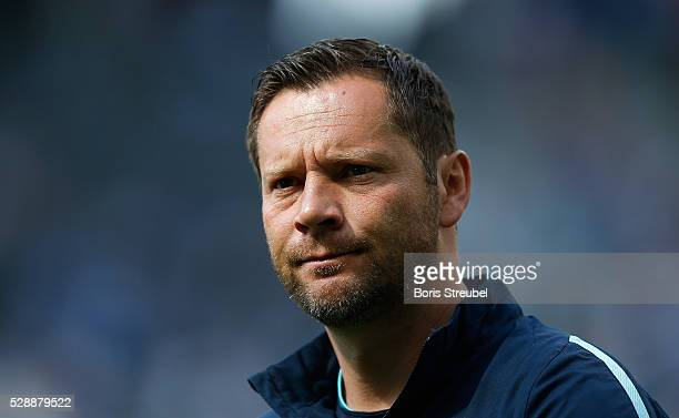 Pal Dardai head coach of Hertha BSC looks on prior to the Bundesliga match between Hertha BSC and SV Darmstadt 98 at Olympiastadion on May 07 2016 in...