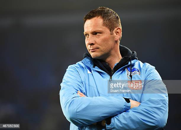 Pal Dardai Head Coach of Hertha SV before the Bundesliga match between Hamburger SV and Hertha BSC at Imtech Arena on March 20 2015 in Hamburg Germany