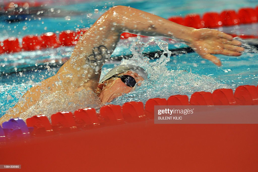 Pal Joensen of Faroe Island competes in the men's 1500m freestyle final during the Short Course Swimming World Championships in Istanbul, on December 16, 2012.