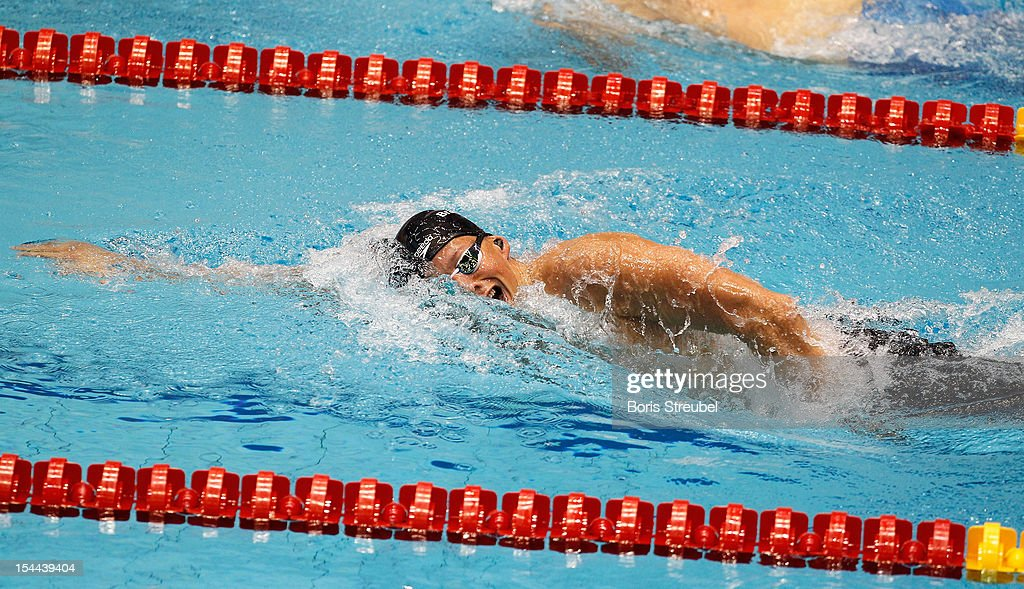 Pal Joensen of Faroe Islands competes in the men's 400m freestyle heats during day one of the FINA Swimming World Cup at Eurosportpark on October 20, 2012 in Berlin, Germany.