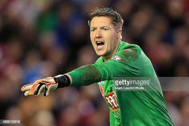 Palace goalkeeper Wayne Hennessey gestures during the Barclays Premier League match between Liverpool and Crystal Palace at Anfield on November 8...
