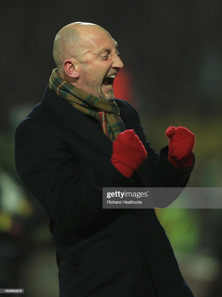 Palace manager <a gi-track='captionPersonalityLinkClicked' href=/galleries/search?phrase=Ian+Holloway&family=editorial&specificpeople=235580 ng-click='$event.stopPropagation()'>Ian Holloway</a> celebrates the equaliser during the npower Championship match between Watford and Crystal Palace at Vicarage Road on February 8, 2013 in Watford, England.