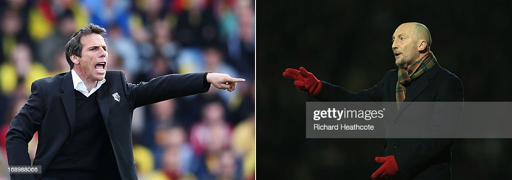 In this composite image a comparison has been made between Watford manager Gianfranco Zola and Crystal Palace manager Ian Holloway Original image...