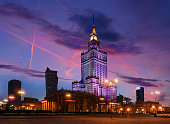 Palace of Culture and Science in the evening. Poland, Europe.