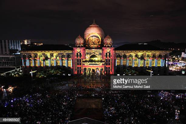 Palace of Justice building is cover by Projection Mapping during the Putrajaya Lighting Festival on October 30 2015 in Putrajaya Malaysia The...