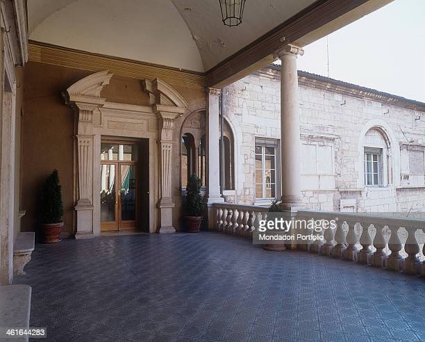 Palace of the Prefecture in Brescia Broletto 13th 17th Century bricks and cotto tiles Italy Lombardy Brescia Palace of the Prefecture Broletto Detail...