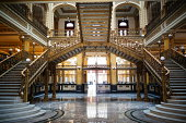 Staircase of an old palace and now the post office in Mexico City, Mexico