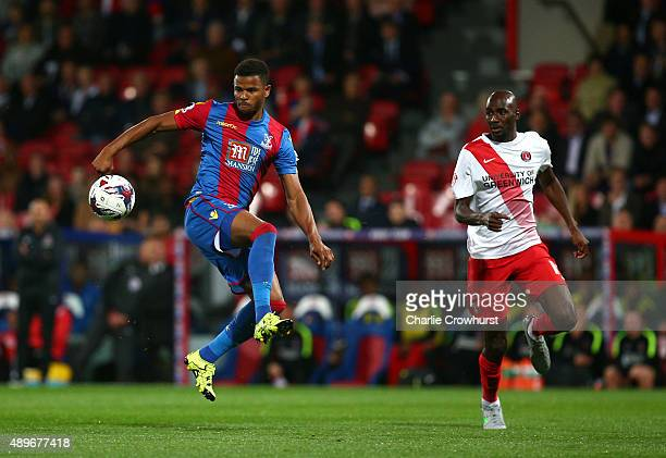 Palace's Fraizer Campbell looks to bring the ball under control during the Capital One Cup Third Round match between Crystal Palace and Charlton...