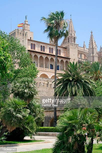 Palacio de la Almudaina in front of La Seu Cathedral, Palma, Mallorca, Spain