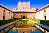 Palacios Nazaries, a part of the Alhambra in Granada, Spain. Reflection in water.