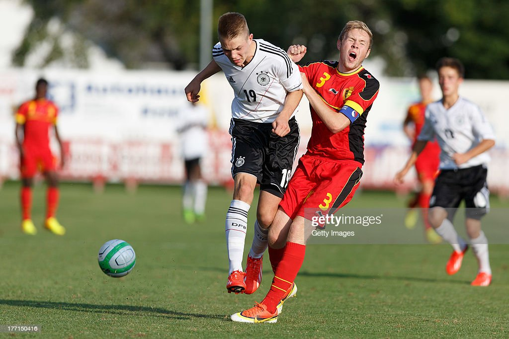 Palacios-Martinez Frederico of Germany and Leyder Nathan of Belgium fight for the ball during the U17 Toto-Cup match between Germany and Belgium on August 21, 2013 in Gleisdorf, Austria.
