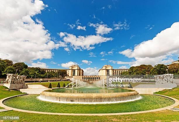 Palais de Chaillot viewed through the Trocadero Fountains