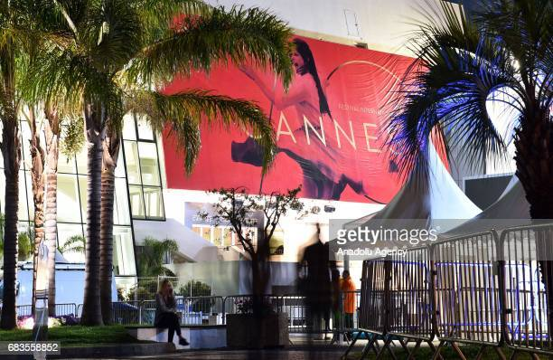 Palais des Festival where the 70th Cannes Film Festival films screening building decorates with huge poster in Cannes France on May 16 2017 The 70th...