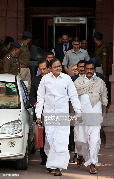Palaniappan Chidambaram India's finance minister center leaves the ministry of finance with his team to present the annual budget at the Indian...