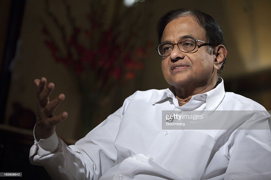 Palaniappan Chidambaram India's finance minister gestures as he speaks during an interview in New Delhi India on Friday March 15 2013 Chidambaram...