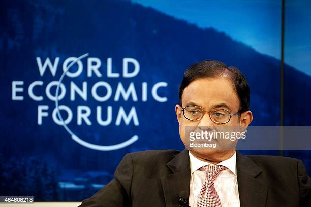 Palaniappan Chidambaram India's finance minister pauses during a session on day two of the World Economic Forum in Davos Switzerland on Thursday Jan...
