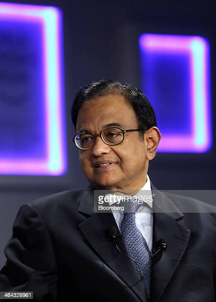 Palaniappan Chidambaram India's finance minister speaks during a session on the opening day of the World Economic Forum in Davos Switzerland on...