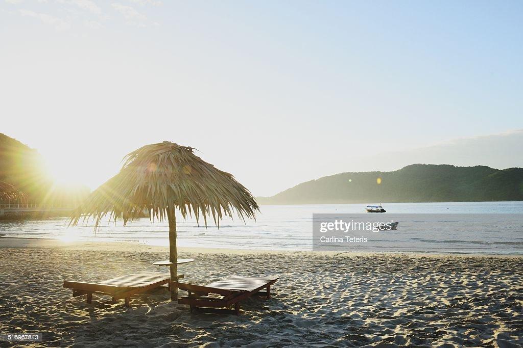 Palapa on tropical beach on Perhentian Island