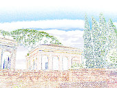 Palatine hill, Rome, Italy. Ancient building and cypress trees against the blue sky. Digital colored drawing, watercolor painting imitation