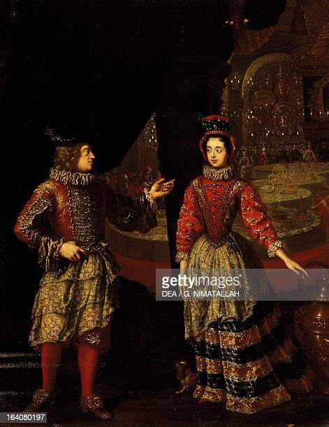 Palatine voters wearing masks Anna Maria Luisa de' Medici and her husband the last representative of the house of Medici Florence Palazzo Pitti...