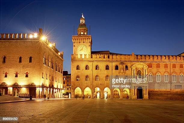Palazzo Comunale in Bologna, Italy at night