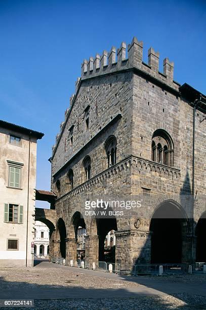 Palazzo della Ragione view from piazza del Duomo Citta Alta Bergamo Lombardy Italy 12th century