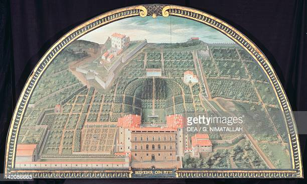 Palazzo Pitti and the Boboli Gardens in Florence by Giusto Utens Lunette frescoes depicting the Medici villas 15991602 Italy 17th Century