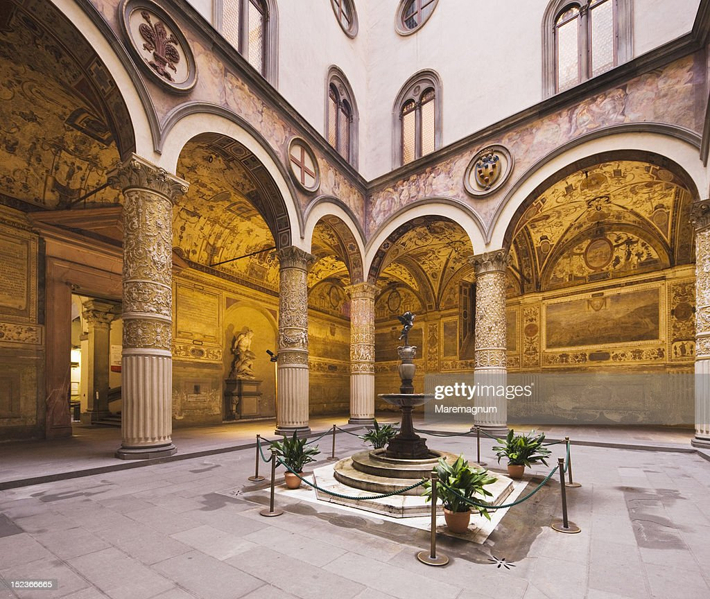 Palazzo Vecchio, first courtyard : Stock Photo