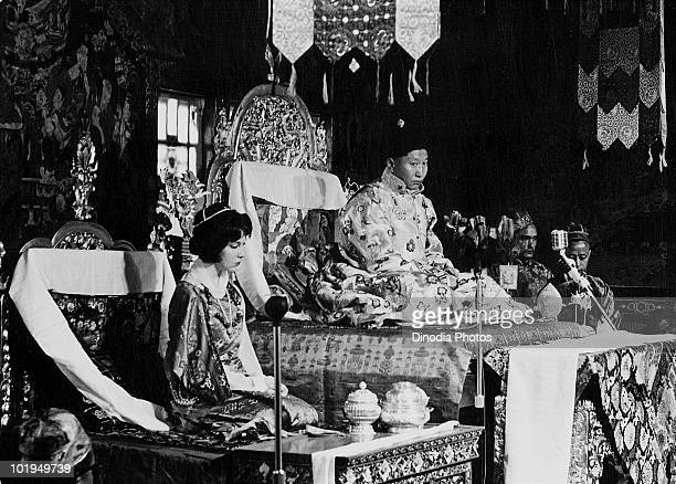 Palden Thondup Namgyal with his American wife Hope Cooke during his coronation as the 12th Chogyal of Sikkim at a monastery in Gangtok Sikkim India...