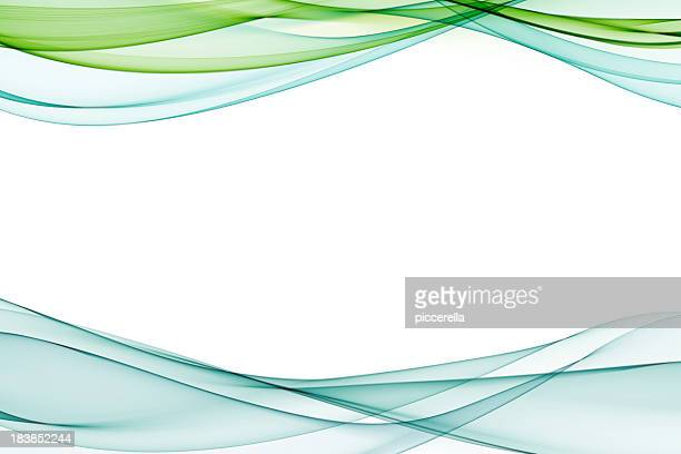 Pale blue and green abstract waves on a white background