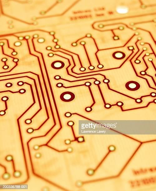 Pale coloured circuit board, close-up