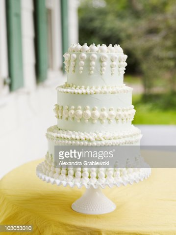 Pale Green Tiered Wedding Cake