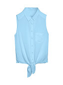 Pale light blue elegant summer sleeveless woman blouse shirt with a collar, buttons and tie isolated white