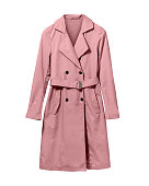 Pale light pink elegant woman autumn coat isolated white