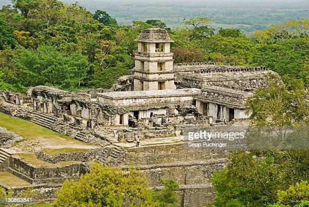 Palenque Chiapas Palacio as seen from the top of Templo de la Cruz Maya culture Mexico