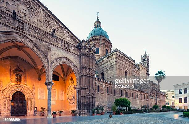 Palermo Cathedral at dusk, Sicily Italy
