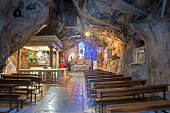 Palermo - Cave of Santuario di Santa Rosalia. The cave is a holy shrine on mount Pelegrino over Palermo, and is dedicated to Santa Rosalia patron of Palermo on April 9, 2013 in Palermo, Italy