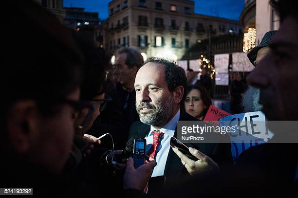 Palermo Dec 20 2013 Antonio Ingroia former AntiMafia prosecutor gathered at the demonstration organized to show support and demand better security...