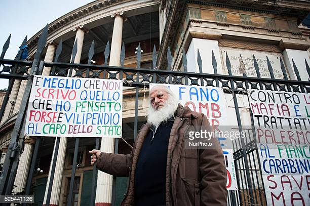 Palermo Dec 20 2013 Vincenzo Agostino his son was a policeman murdered by Mafia Agostino swore he won't cut his beard until the case of his son is...
