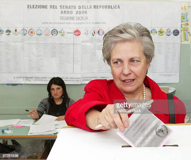 Rita Borsellino the sister of antiMafia judge Paolo Borsellino votes 09 April 2006 in PalermoPolling in Italy's first general election for five years...