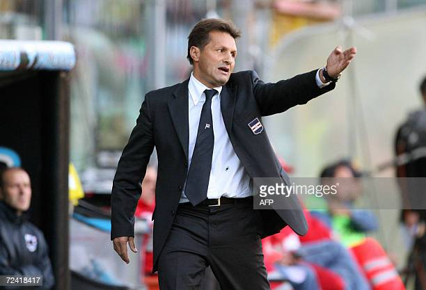 Sampdoria's coach Walter Novellino gives instructions to his players during their Italian Serie A football match against Palermo at Palermo's Barbera...