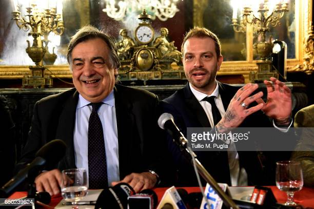 Palermo Mayor Leoluca Orlando and US Citta di Palermo new President Paul Baccaglini answer questions during a press conference at Villa Niscemi on...
