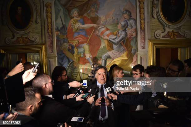 Palermo Mayor Leoluca Orlando answers questions during a press conference at Villa Niscemi on March 9 2017 in Palermo Italy