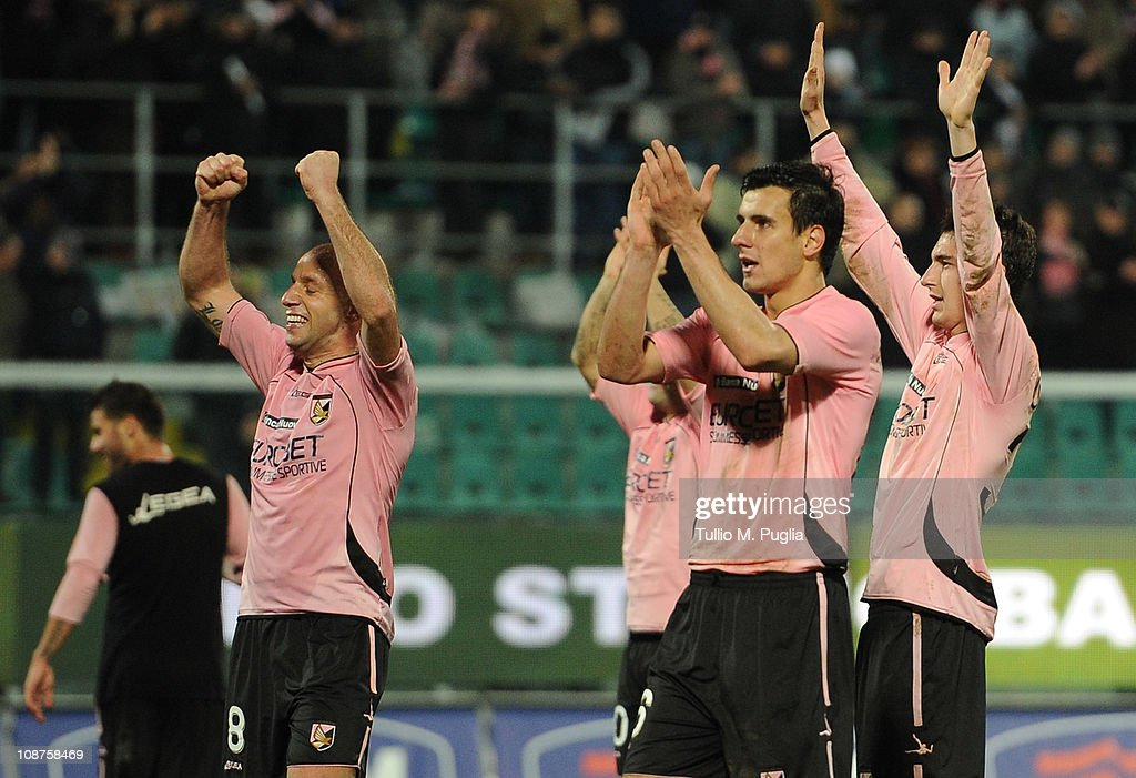 Palermo players celebrate victory after the Serie A match between US Citta di Palermo and Juventus FC at Stadio Renzo Barbera on February 2, 2011 in Palermo, Italy.