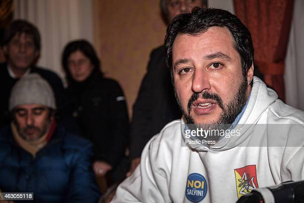 Palermo the Lega Nord secretary Matteo Salvini speaks to the journalists at presentation of the new party 'Us with Salvini'