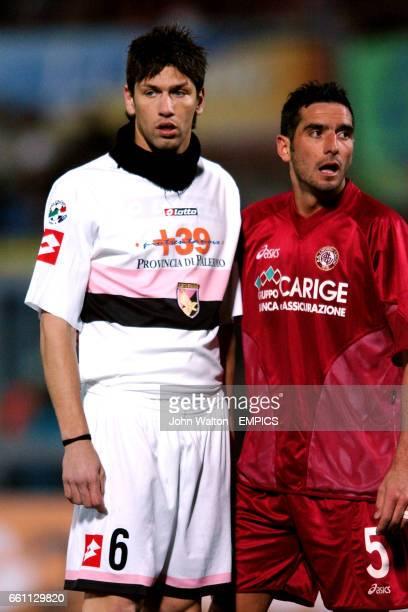 Palermo's Christian Terlizzi and Livorno's Alessandro Lucarelli