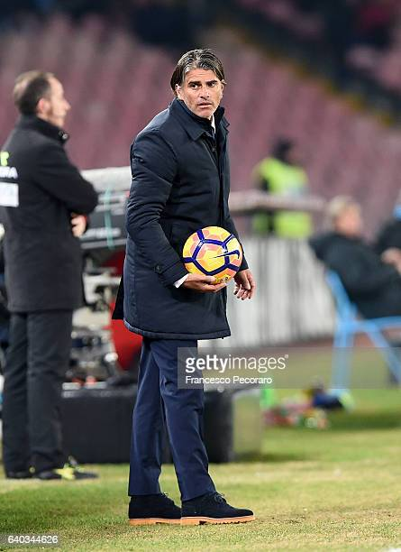 Palermo's coach Diego Lopez looks on during the Serie A match between SSC Napoli and US Citta di Palermo at Stadio San Paolo on January 29 2017 in...