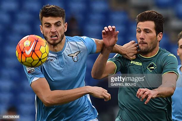 Palermo's midfielder Franco Vazquez from Italy vies with Lazio's defender from Netherlands Wesley Hoedt during the Italian Serie A football match...