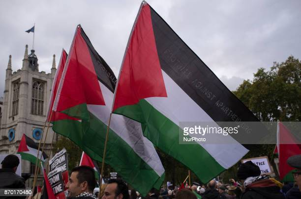 Palestine flags are pictured during a demonstration in London on November 4 2017 The demonstration was organized during the State visit of Istrael's...