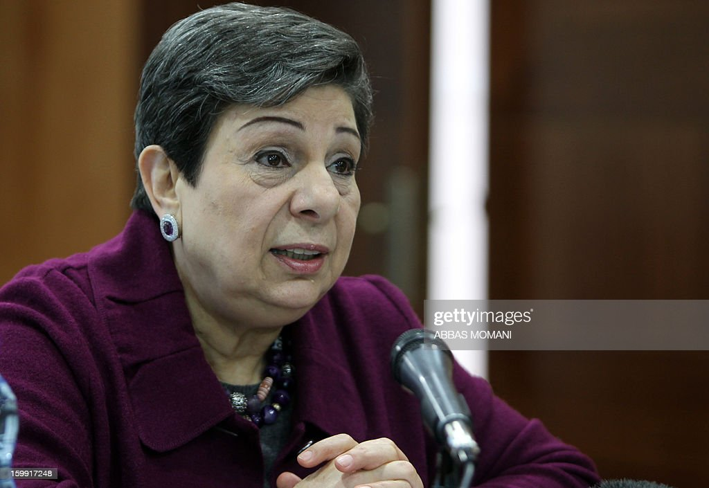Palestine Liberation Organisation (PLO) executive committe member Hanan Ashrawi speaks during a press conference in the West Bank city of Ramallah, on January 23, 2013, a day after Israelis went to the polls to elect a new leader. Israel's elections, which saw an even split between rightwing and centre-left blocs, are unlikely to produce a coalition bent on reviving peace talks, a Ashrawi said. AFP PHOTO/ABBAS MOMANI